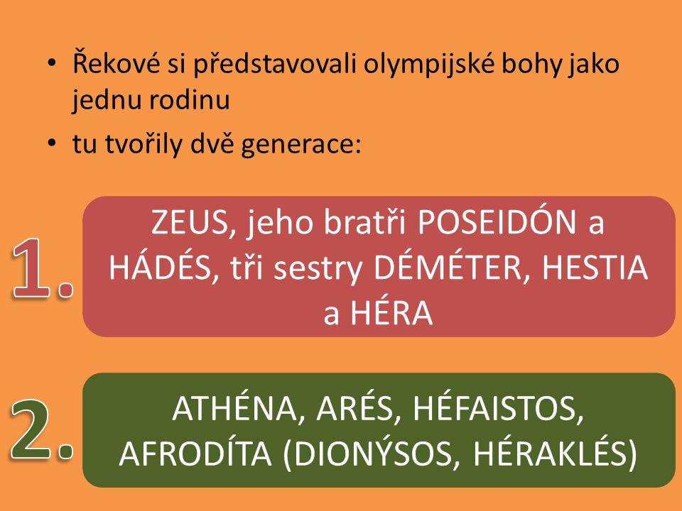 Řekové si představovali olympijské bohy jako jednu rodinu tu tvořily dvě generace: ZEUS, jeho bratři POSEIDÓN a HÁDÉS, tři sestry DÉMÉTER, HESTIA a HÉRA ATHÉNA, ARÉS, HÉFAISTOS, AFRODÍTA (DIONÝSOS, HÉRAKLÉS)