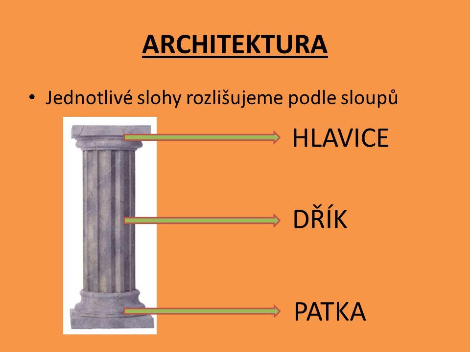 ARCHITEKTURA Jednotlivé slohy rozlišujeme podle sloupů HLAVICE DŘÍK PATKA