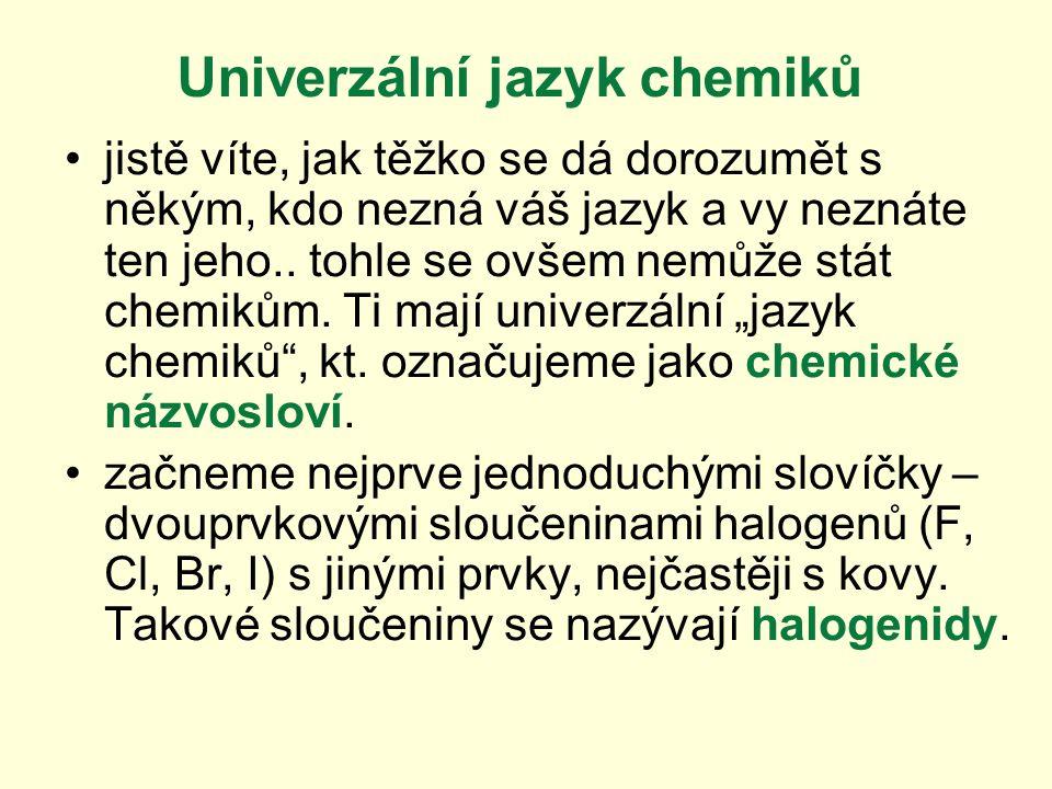 Univerzální jazyk chemiků jistě víte, jak těžko se dá dorozumět s někým, kdo nezná váš jazyk a vy neznáte ten jeho..