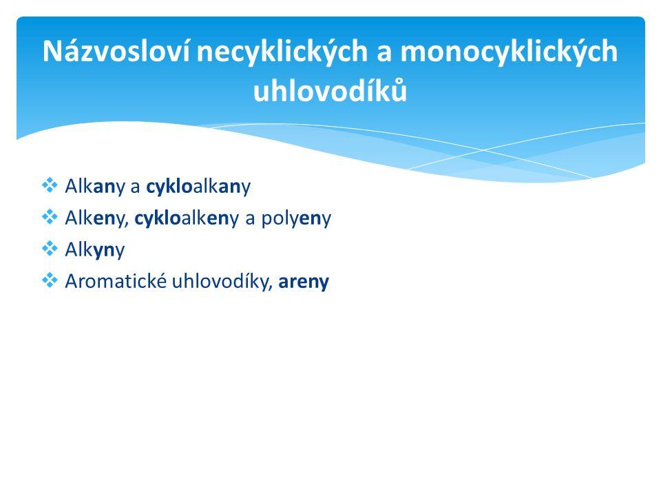  Alkany a cykloalkany  Alkeny, cykloalkeny a polyeny  Alkyny  Aromatické uhlovodíky, areny Názvosloví necyklických a monocyklických uhlovodíků