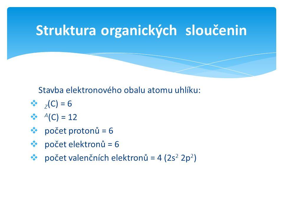 Stavba elektronového obalu atomu uhlíku:  Z (C) = 6  A (C) = 12  počet protonů = 6  počet elektronů = 6  počet valenčních elektronů = 4 (2s 2 2p 2 ) Struktura organických sloučenin