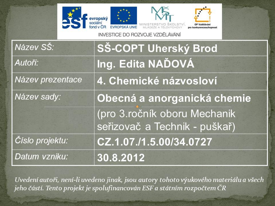 Název SŠ: SŠ-COPT Uherský Brod Autoři: Ing. Edita NAĎOVÁ Název prezentace 4.