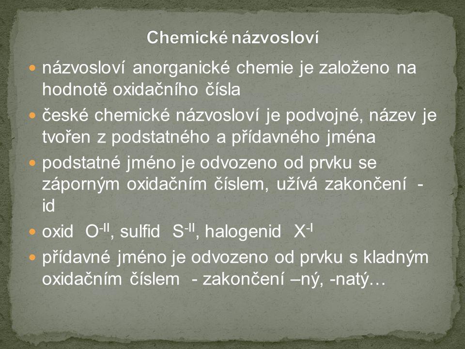 názvosloví anorganické chemie je založeno na hodnotě oxidačního čísla české chemické názvosloví je podvojné, název je tvořen z podstatného a přídavného jména podstatné jméno je odvozeno od prvku se záporným oxidačním číslem, užívá zakončení - id oxid O -II, sulfid S -II, halogenid X -I přídavné jméno je odvozeno od prvku s kladným oxidačním číslem - zakončení –ný, -natý…