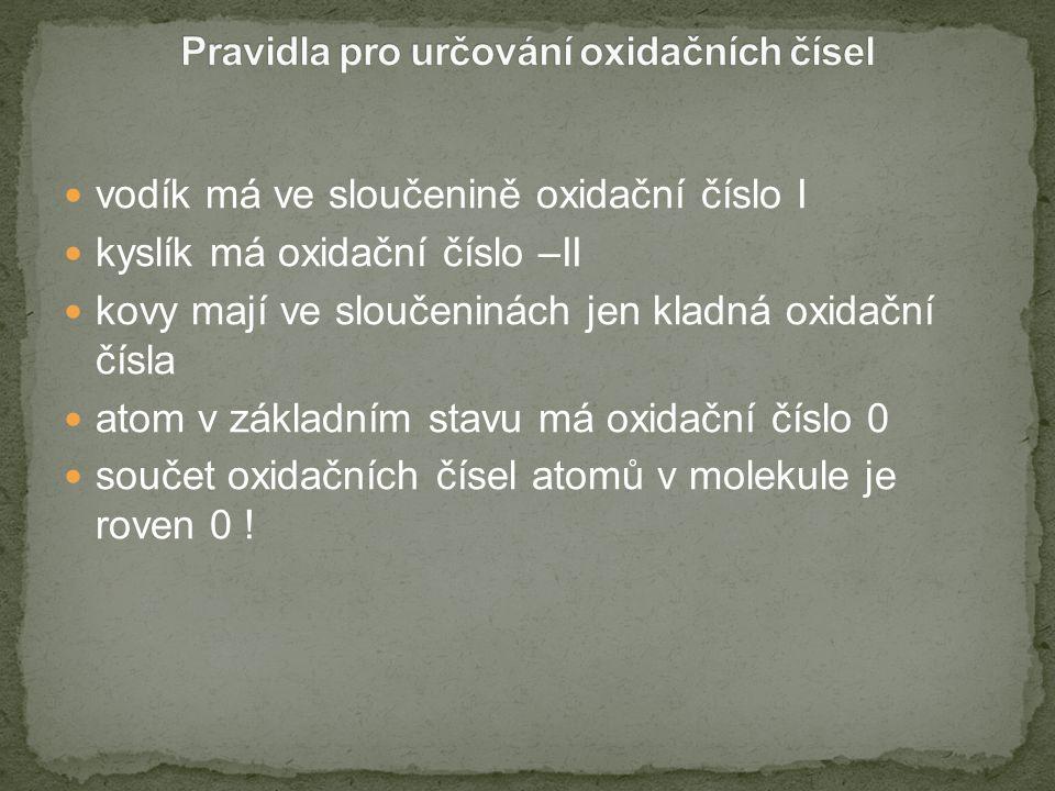 Kladné oxidační číslo Zakončení kationtu Zakončení aniontu I-ný- nan II-natý- natan III- itý- itan IV- ičitý- ičitan V- ičný - ečný- ečnan - ičnan VI- ový- an VII- istý- istan VIII- ičelý- ičelan