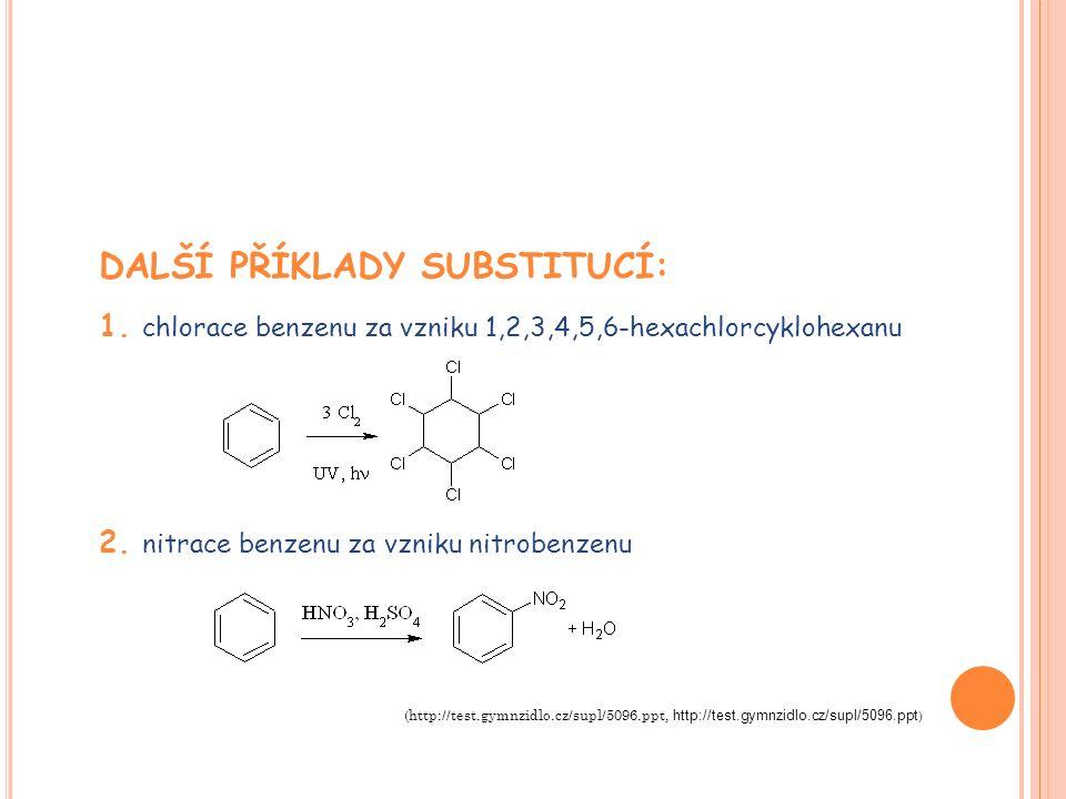 DALŠÍ PŘÍKLADY SUBSTITUCÍ: 1. chlorace benzenu za vzniku 1,2,3,4,5,6-hexachlorcyklohexanu 2.