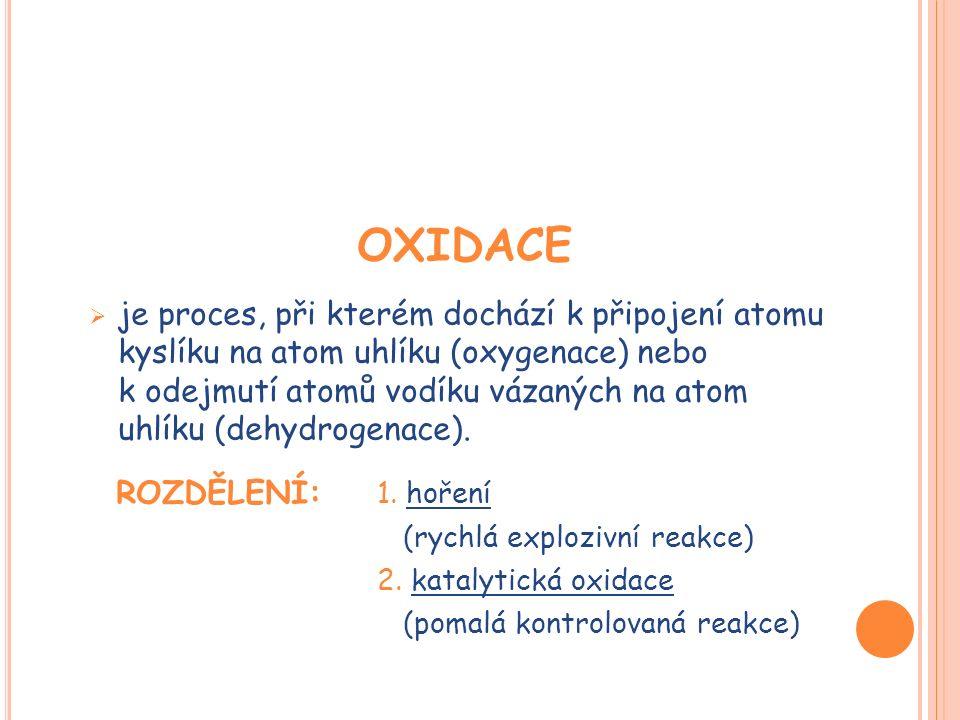 OXIDACE  je proces, při kterém dochází k připojení atomu kyslíku na atom uhlíku (oxygenace) nebo k odejmutí atomů vodíku vázaných na atom uhlíku (dehydrogenace).