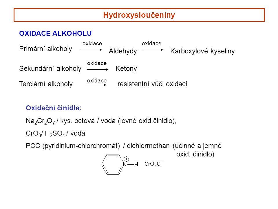 Hydroxysloučeniny OXIDACE ALKOHOLU Primární alkoholy oxidace Aldehydy oxidace Karboxylové kyseliny Sekundární alkoholy oxidace Ketony Terciární alkoholy oxidace resistentní vůči oxidaci Oxidační činidla: Na 2 Cr 2 O 7 / kys.