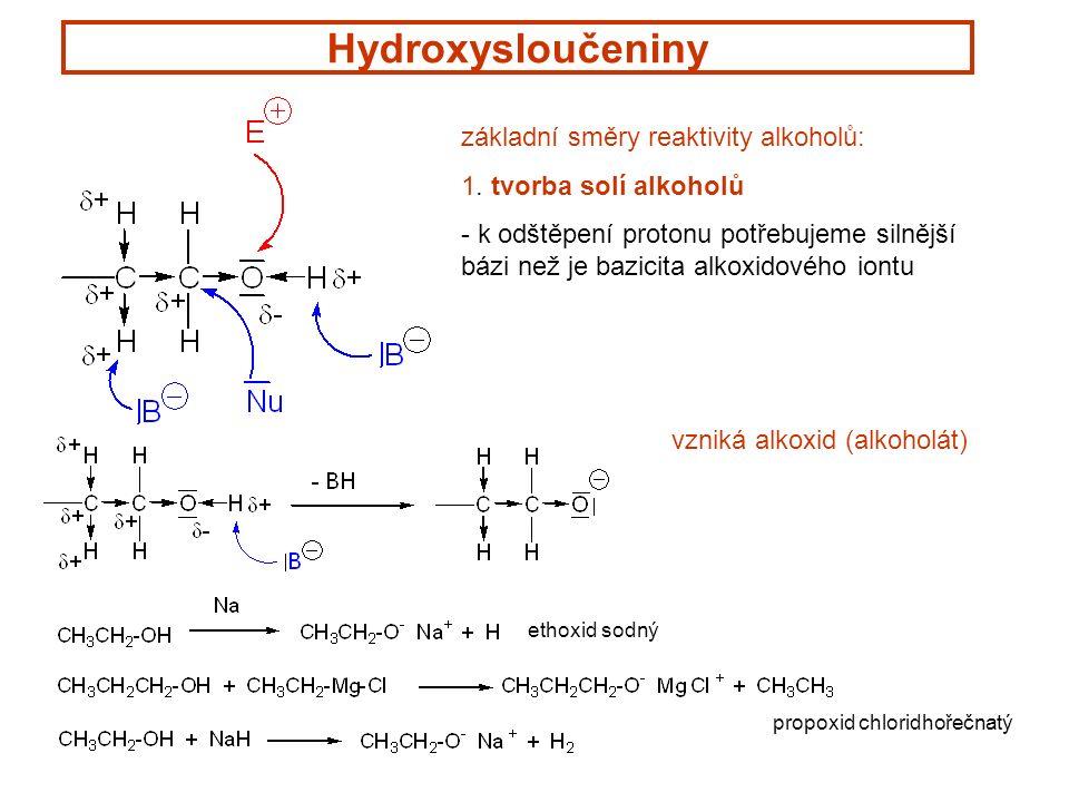 Hydroxysloučeniny základní směry reaktivity alkoholů: 1.