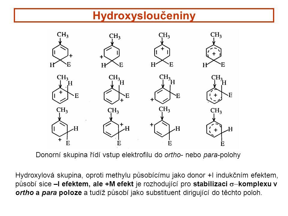 Hydroxysloučeniny Donorní skupina řídí vstup elektrofilu do ortho- nebo para-polohy Hydroxylová skupina, oproti methylu působícímu jako donor +I indukčním efektem, působí sice –I efektem, ale +M efekt je rozhodující pro stabilizaci  komplexu v ortho a para poloze a tudíž působí jako substituent dirigující do těchto poloh.