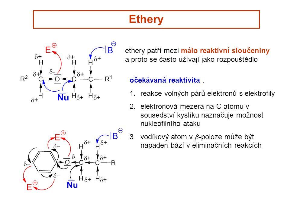 Ethery ethery patří mezi málo reaktivní sloučeniny a proto se často užívají jako rozpouštědlo očekávaná reaktivita : 1.reakce volných párů elektronů s elektrofily 2.elektronová mezera na C atomu v sousedství kyslíku naznačuje možnost nukleofilního ataku 3.vodíkový atom v  -poloze může být napaden bází v eliminačních reakcích