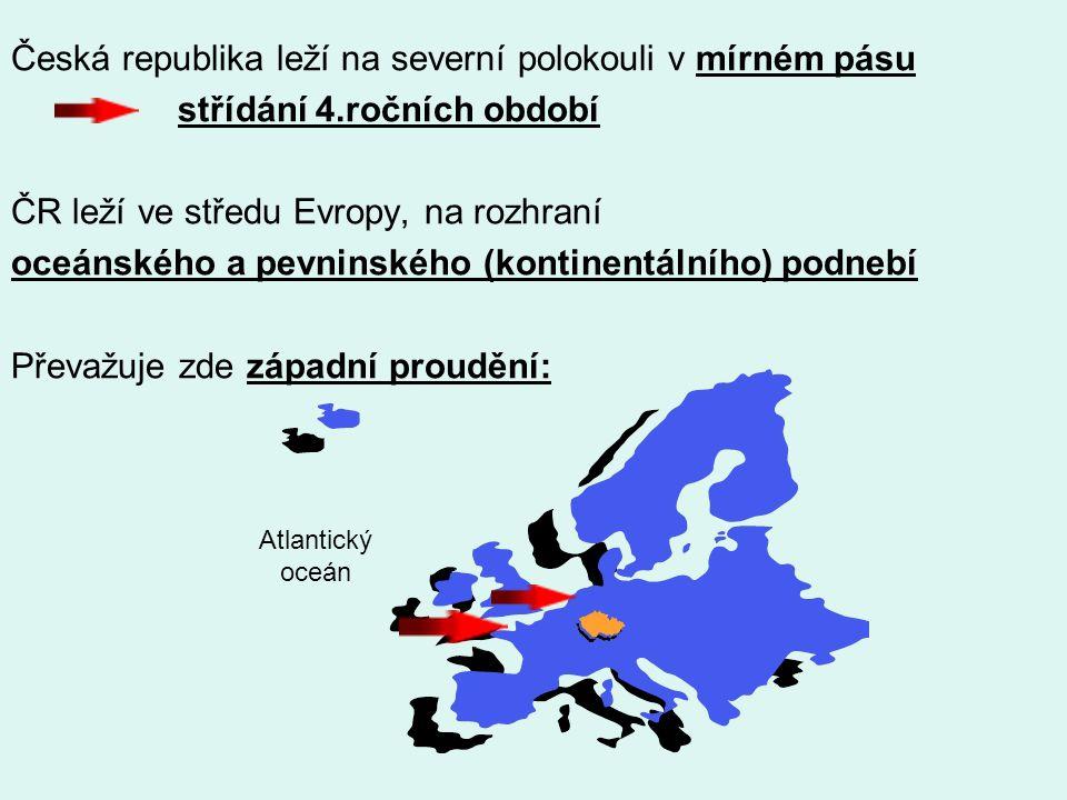 Faktory ovlivňující podnebí v ČR 1.zeměpisná poloha (z.šířka) 2.