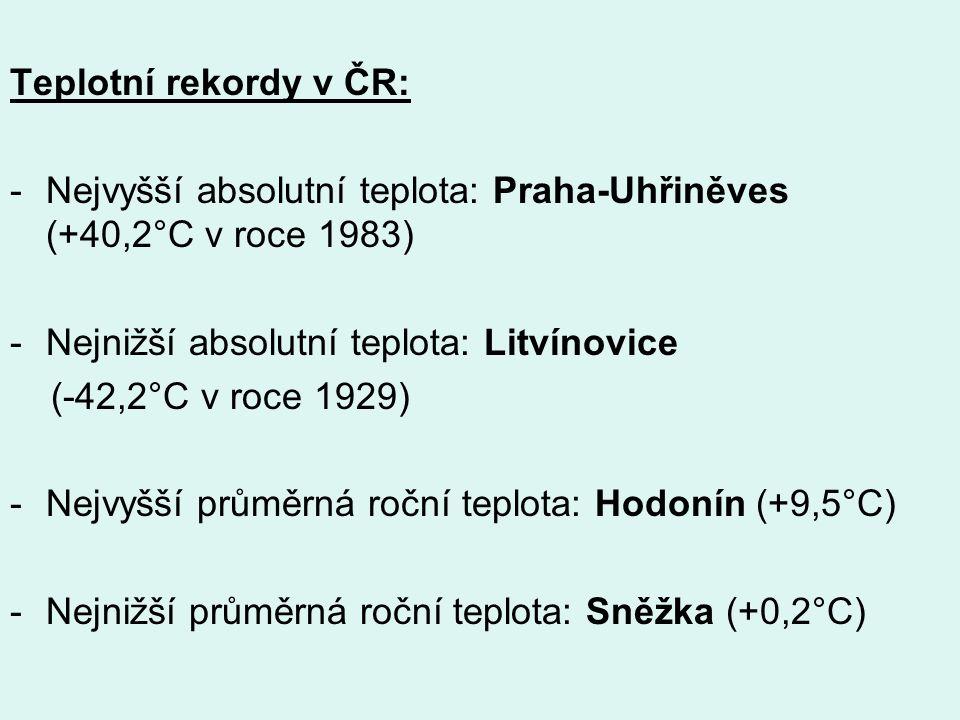 Podnebné oblasti I přes nevelkou rozlohu jsou na našem území zřetelné podnebné rozdíly a ČR můžeme rozdělit do tzv.