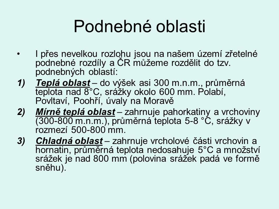 Podnebné oblasti ČR