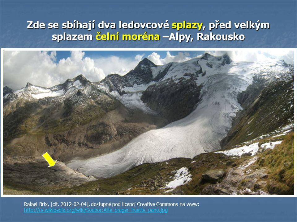 Zde se sbíhají dva ledovcové splazy, před velkým splazem čelní moréna –Alpy, Rakousko Rafael Brix, [cit.