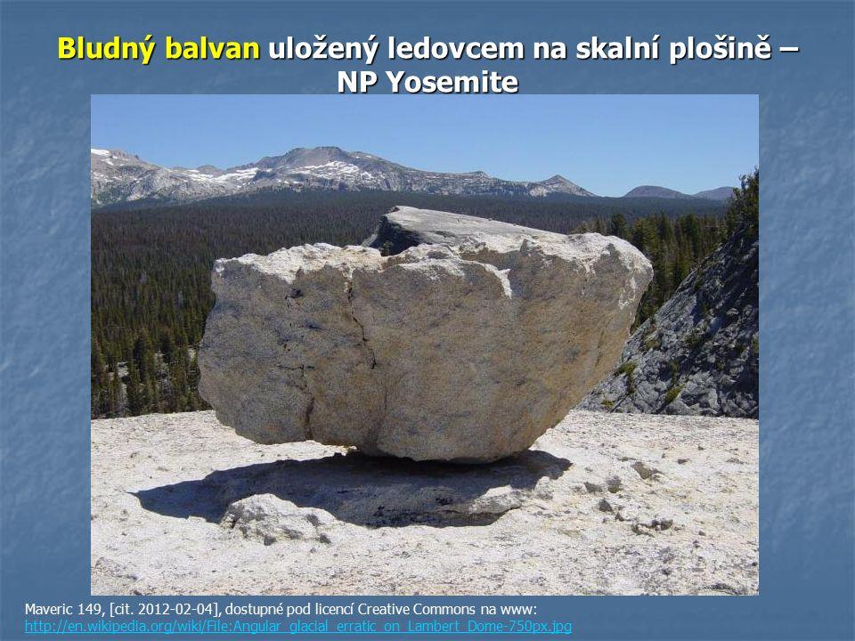 Bludný balvan uložený ledovcem na skalní plošině – NP Yosemite Maveric 149, [cit.
