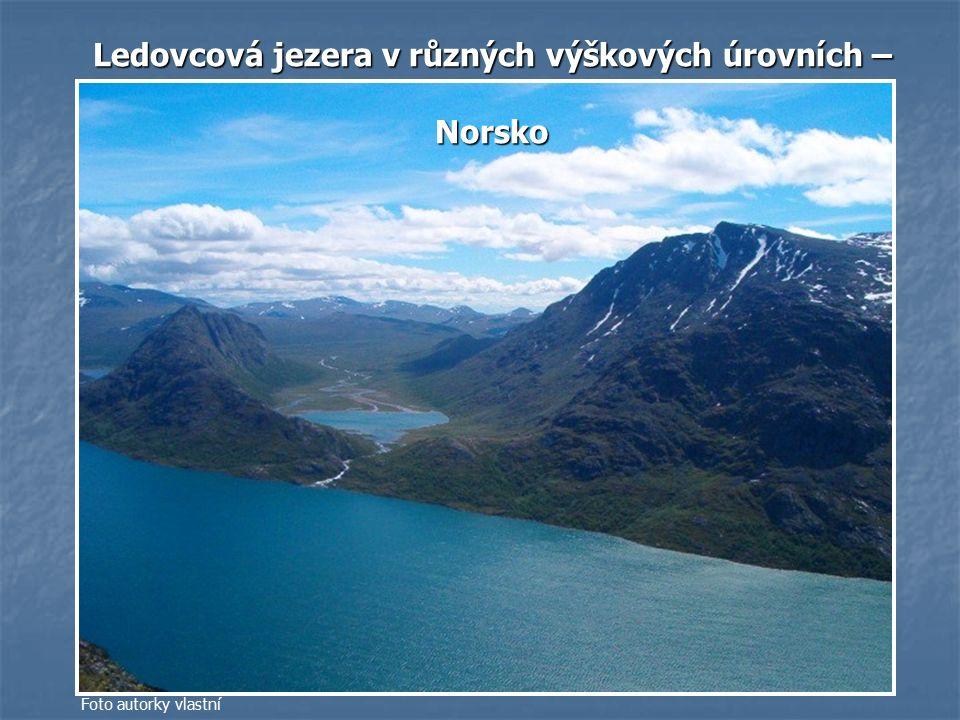 Ledovcová jezera v různých výškových úrovních – Ledovcová jezera v různých výškových úrovních – Norsko Norsko