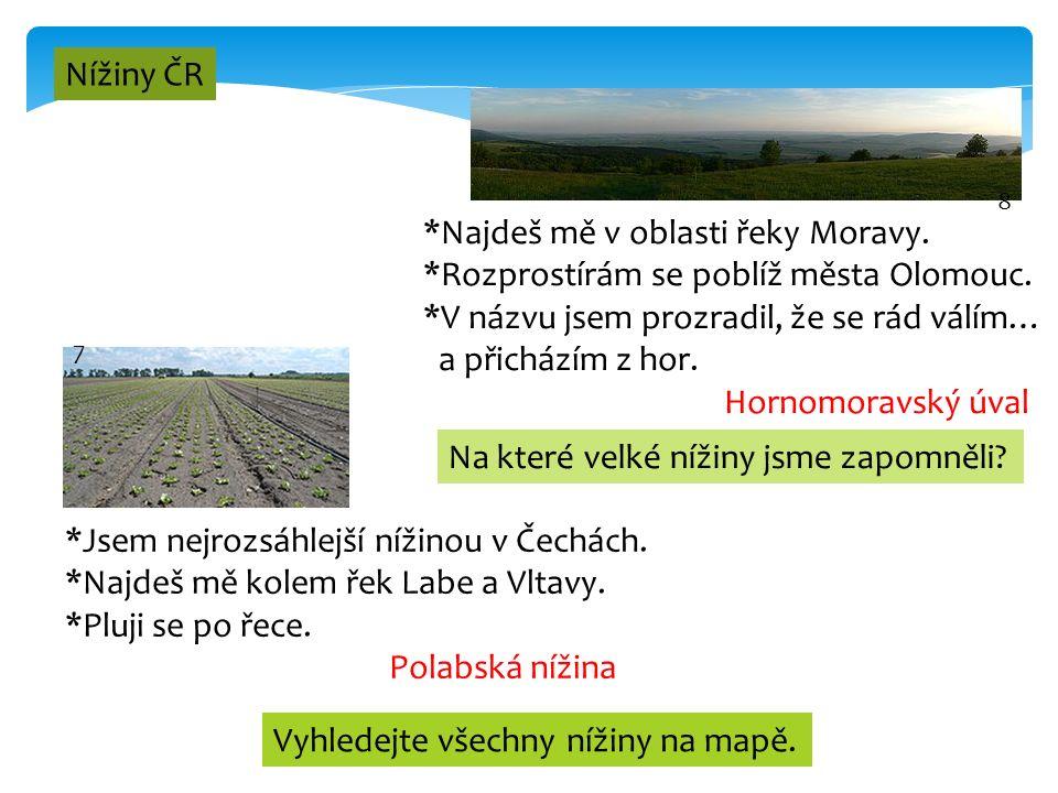 4 Nížiny ČR 7 *Jsem nejrozsáhlejší nížinou v Čechách. *Najdeš mě kolem řek Labe a Vltavy. *Pluji se po řece. Polabská nížina 8 *Najdeš mě v oblasti ře