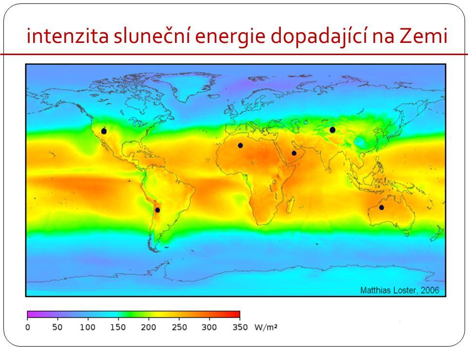 intenzita sluneční energie dopadající na Zemi