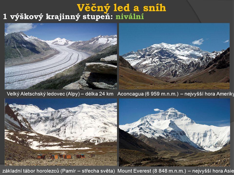 1 výškový krajinný stupeň: subnivální svišť žlutobřichý - USA kamzík horský (tatranský) dutohlávka horská - lišejník Lomnický štít (2 634 m.n.m.) Mechy a lišejníky