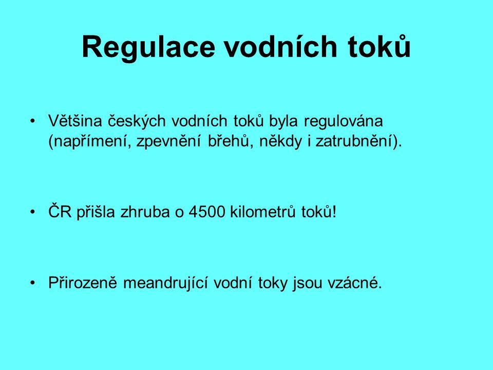 Regulace vodních toků Většina českých vodních toků byla regulována (napřímení, zpevnění břehů, někdy i zatrubnění). ČR přišla zhruba o 4500 kilometrů