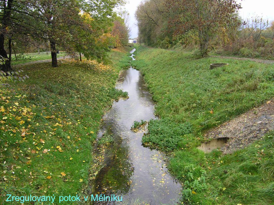 Zregulovaný potok v Mělníku