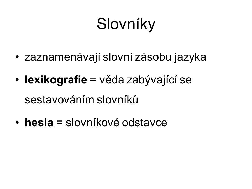 Slovníky zaznamenávají slovní zásobu jazyka lexikografie = věda zabývající se sestavováním slovníků hesla = slovníkové odstavce