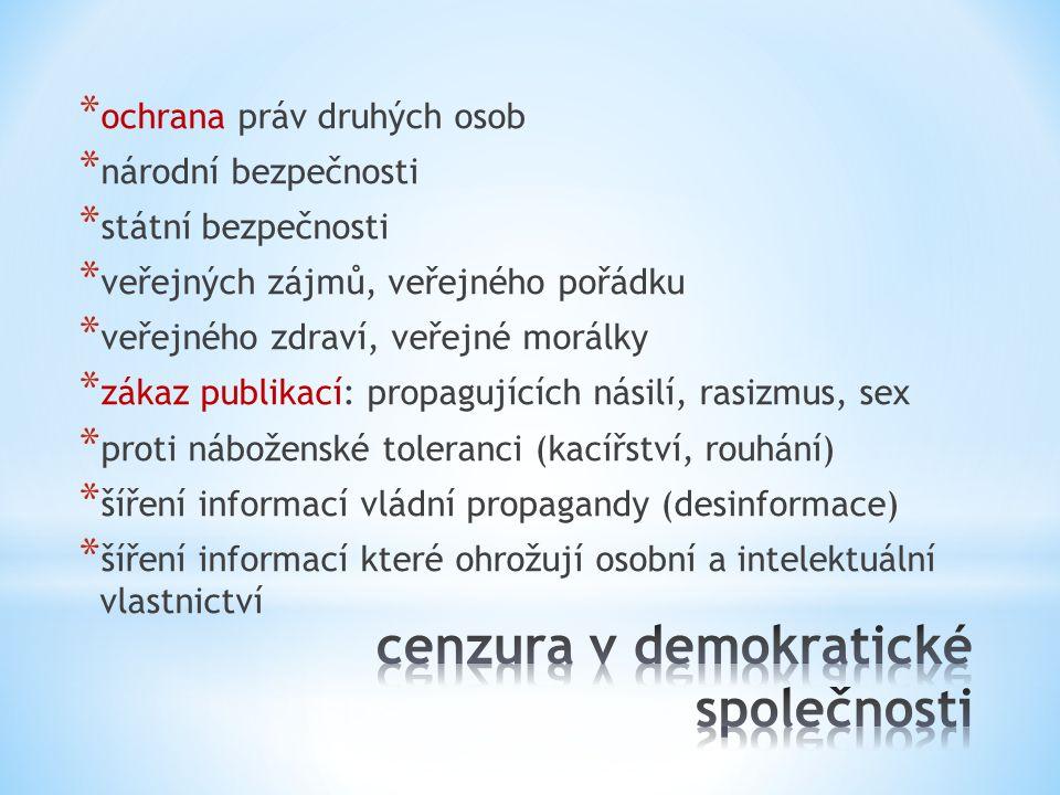 * zákony * udílení licencí * postih žurnalistů (vězení, vraždy, ublížení) * cenzura (prioritní, následná, zahraničních.