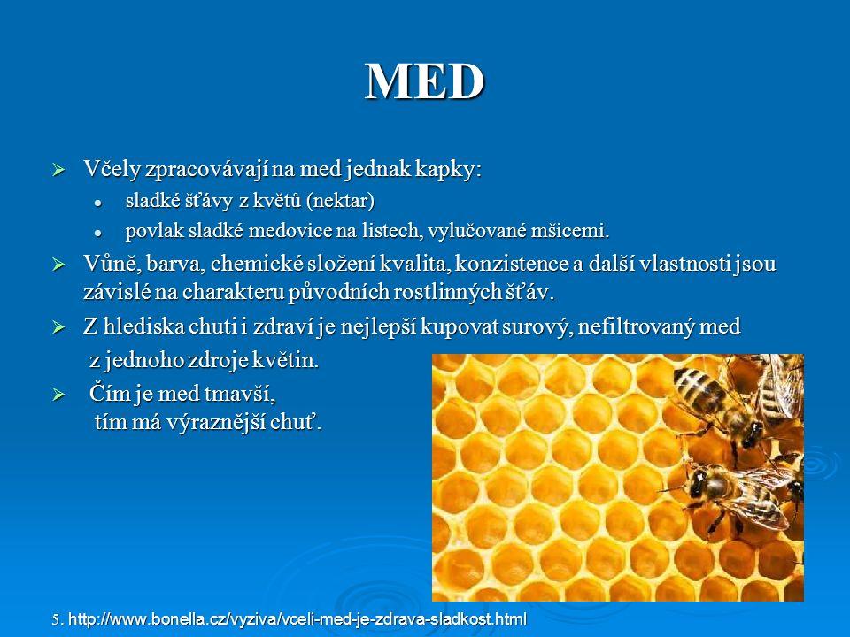 MED  Včely zpracovávají na med jednak kapky: sladké šťávy z květů (nektar) sladké šťávy z květů (nektar) povlak sladké medovice na listech, vylučované mšicemi.