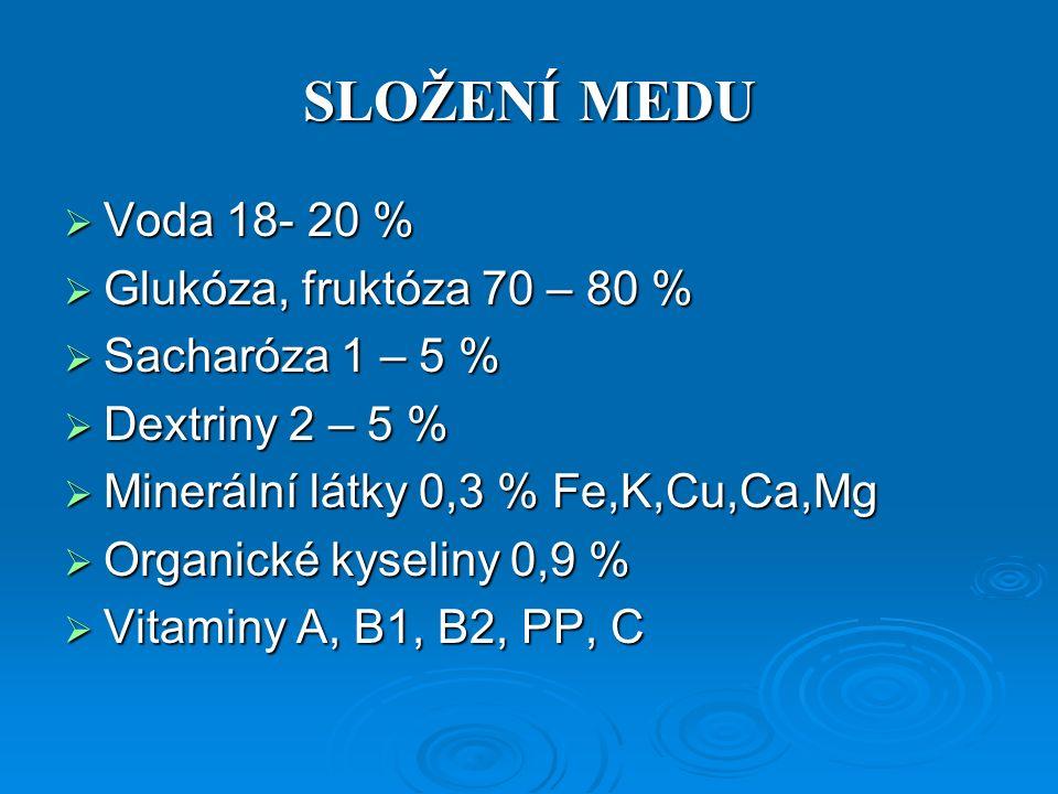 SLOŽENÍ MEDU  Voda 18- 20 %  Glukóza, fruktóza 70 – 80 %  Sacharóza 1 – 5 %  Dextriny 2 – 5 %  Minerální látky 0,3 % Fe,K,Cu,Ca,Mg  Organické kyseliny 0,9 %  Vitaminy A, B1, B2, PP, C