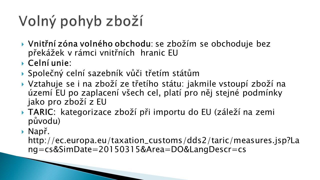  Vnitřní zóna volného obchodu: se zbožím se obchoduje bez překážek v rámci vnitřních hranic EU  Celní unie:  Společný celní sazebník vůči třetím státům  Vztahuje se i na zboží ze třetího státu: jakmile vstoupí zboží na území EU po zaplacení všech cel, platí pro něj stejné podmínky jako pro zboží z EU  TARIC: kategorizace zboží při importu do EU (záleží na zemi původu)  Např.