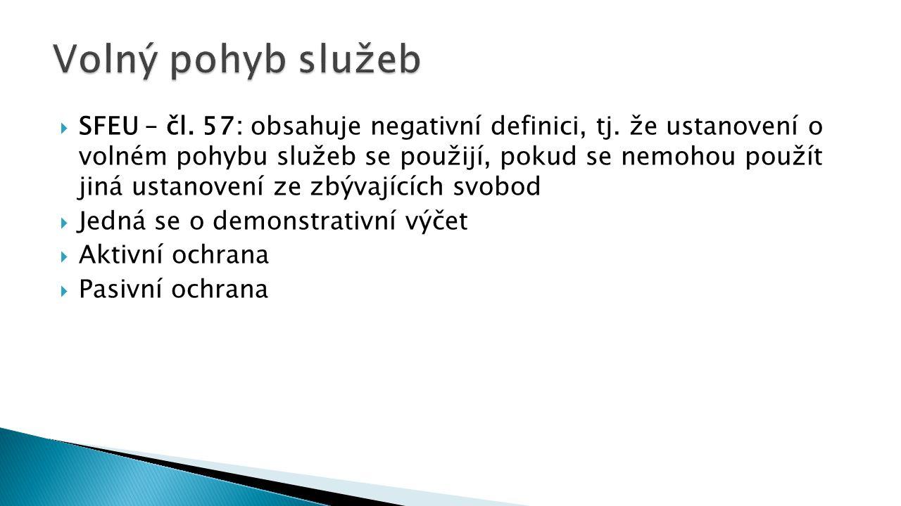  SFEU – čl. 57: obsahuje negativní definici, tj.