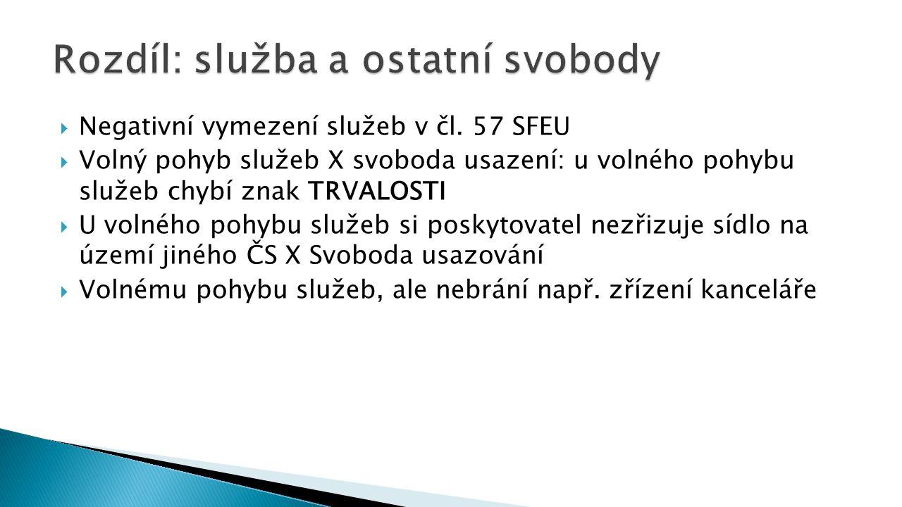  Negativní vymezení služeb v čl. 57 SFEU  Volný pohyb služeb X svoboda usazení: u volného pohybu služeb chybí znak TRVALOSTI  U volného pohybu služ