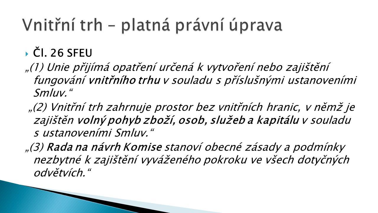 """ Čl. 26 SFEU """"(1) Unie přijímá opatření určená k vytvoření nebo zajištění fungování vnitřního trhu v souladu s příslušnými ustanoveními Smluv."""" """"(2)"""