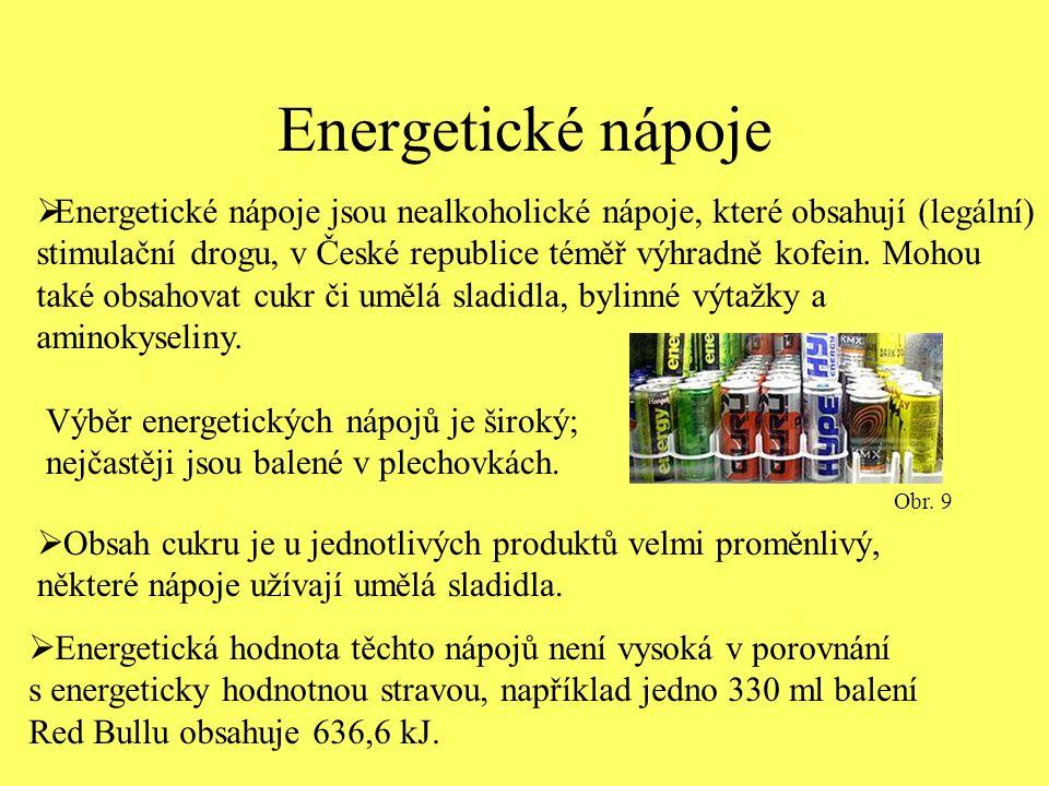 Energetické nápoje  Energetické nápoje jsou nealkoholické nápoje, které obsahují (legální) stimulační drogu, v České republice téměř výhradně kofein.