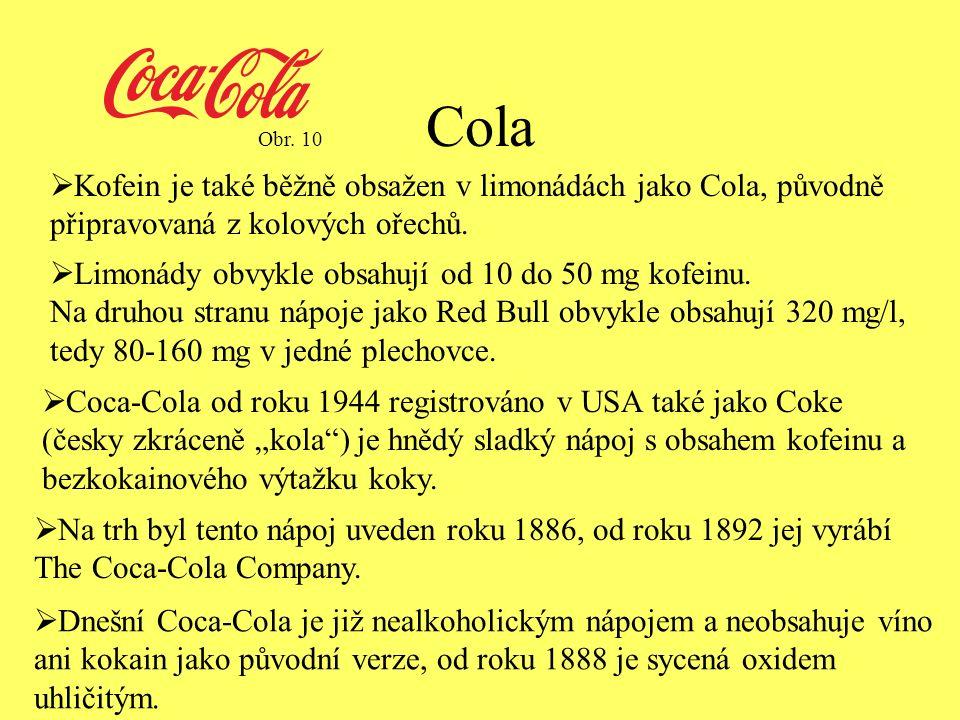 Cola  Kofein je také běžně obsažen v limonádách jako Cola, původně připravovaná z kolových ořechů.