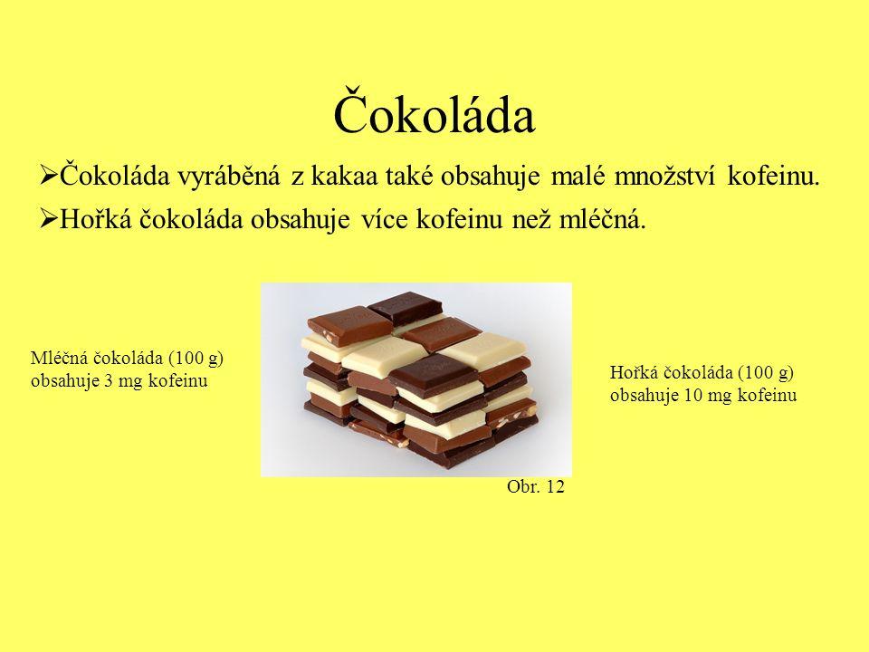 Čokoláda  Čokoláda vyráběná z kakaa také obsahuje malé množství kofeinu.