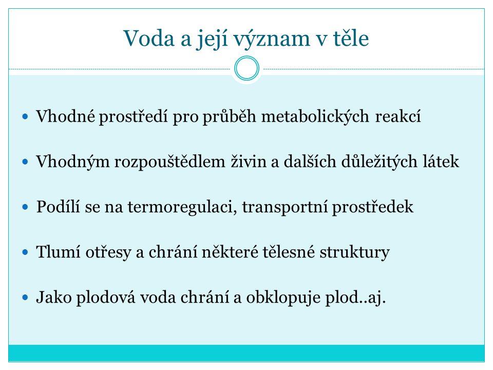 Množství vody v organismu závisí na: Věku Hmotnosti Pohlaví Tělesném složení Zdravotním stavu Těhotenství Aj.