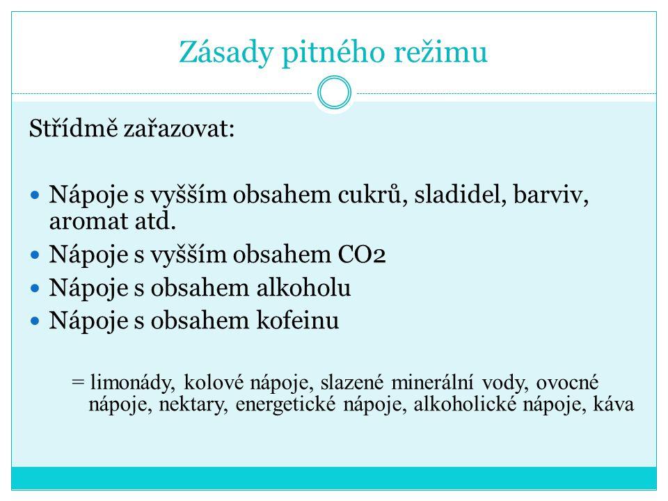 Zásady pitného režimu Střídmě zařazovat: Nápoje s vyšším obsahem cukrů, sladidel, barviv, aromat atd.