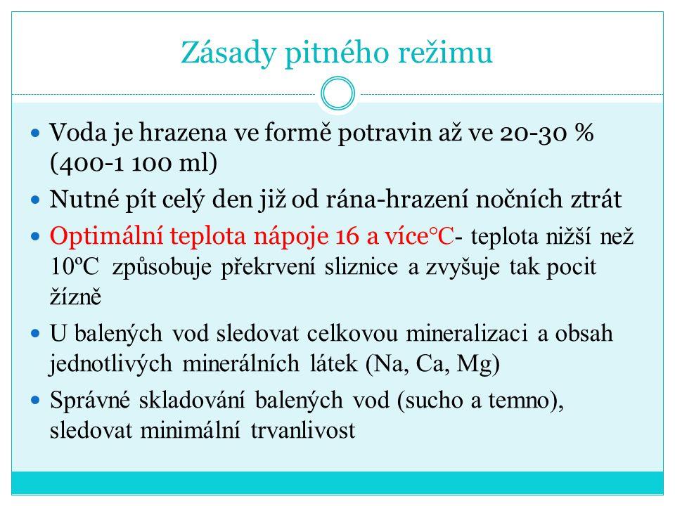 Zásady pitného režimu Voda je hrazena ve formě potravin až ve 20-30 % (400-1 100 ml) Nutné pít celý den již od rána-hrazení nočních ztrát Optimální teplota nápoje 16 a více °C- teplota nižší než 10ºC způsobuje překrvení sliznice a zvyšuje tak pocit žízně U balených vod sledovat celkovou mineralizaci a obsah jednotlivých minerálních látek (Na, Ca, Mg) Správné skladování balených vod (sucho a temno), sledovat minimální trvanlivost