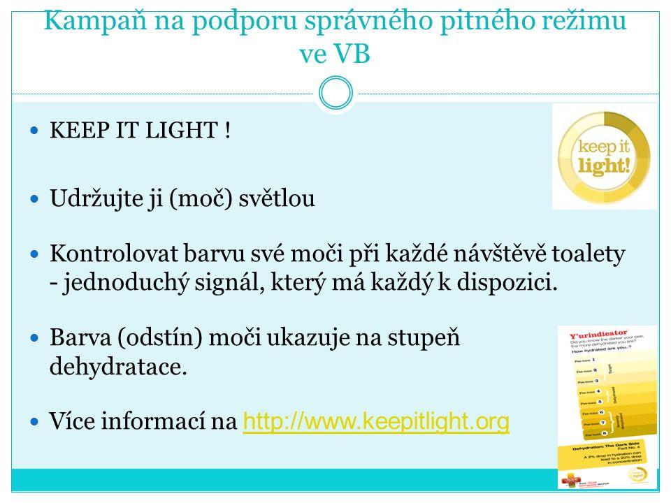 Kampaň na podporu správného pitného režimu ve VB KEEP IT LIGHT .