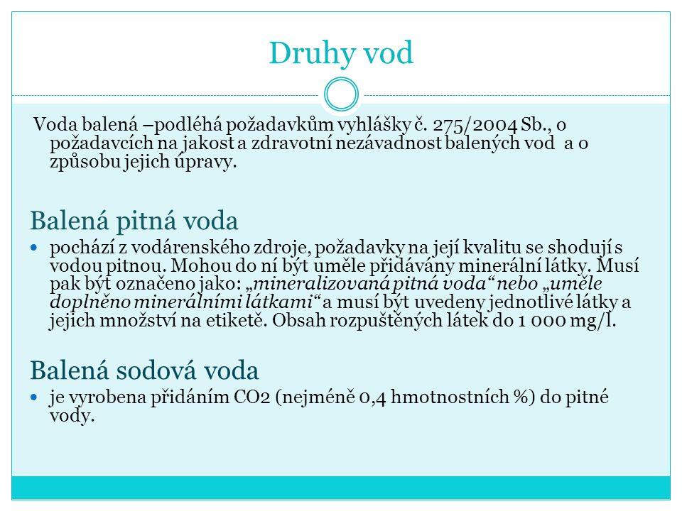 Druhy vod Voda balená –podléhá požadavkům vyhlášky č.