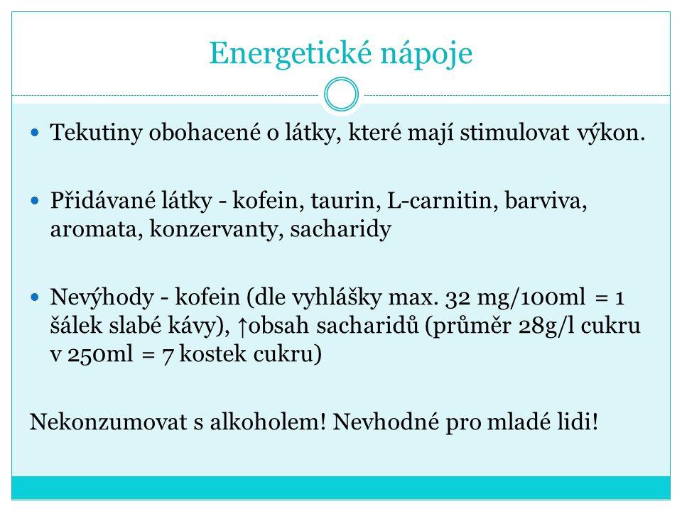 Energetické nápoje Tekutiny obohacené o látky, které mají stimulovat výkon.