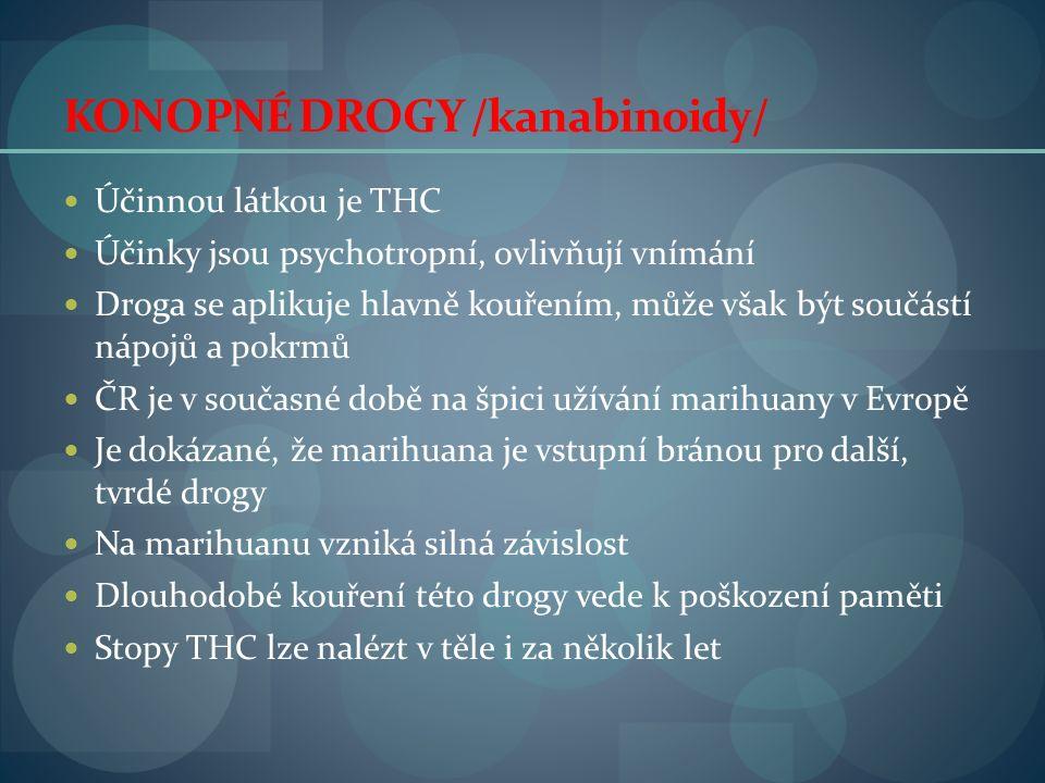 KONOPNÉ DROGY /kanabinoidy/ Účinnou látkou je THC Účinky jsou psychotropní, ovlivňují vnímání Droga se aplikuje hlavně kouřením, může však být součástí nápojů a pokrmů ČR je v současné době na špici užívání marihuany v Evropě Je dokázané, že marihuana je vstupní bránou pro další, tvrdé drogy Na marihuanu vzniká silná závislost Dlouhodobé kouření této drogy vede k poškození paměti Stopy THC lze nalézt v těle i za několik let