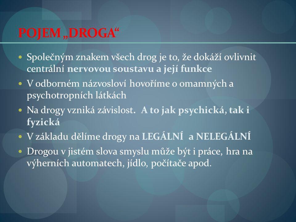 """POJEM """"DROGA Společným znakem všech drog je to, že dokáží ovlivnit centrální nervovou soustavu a její funkce V odborném názvosloví hovoříme o omamných a psychotropních látkách Na drogy vzniká závislost."""