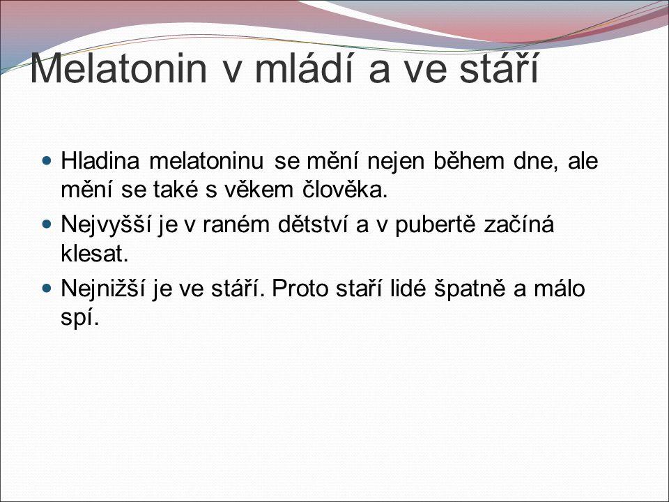 Melatonin v mládí a ve stáří Hladina melatoninu se mění nejen během dne, ale mění se také s věkem člověka.