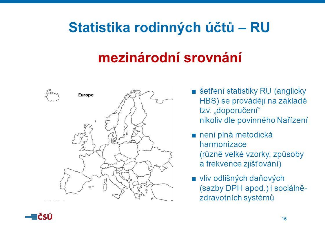 16 Statistika rodinných účtů – RU mezinárodní srovnání ■šetření statistiky RU (anglicky HBS) se provádějí na základě tzv.