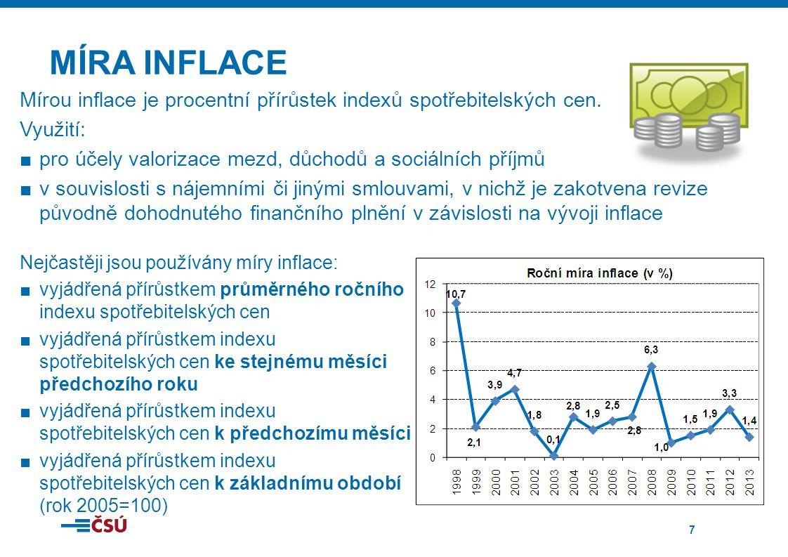 7 MÍRA INFLACE Nejčastěji jsou používány míry inflace: ■vyjádřená přírůstkem průměrného ročního indexu spotřebitelských cen ■vyjádřená přírůstkem indexu spotřebitelských cen ke stejnému měsíci předchozího roku ■vyjádřená přírůstkem indexu spotřebitelských cen k předchozímu měsíci ■vyjádřená přírůstkem indexu spotřebitelských cen k základnímu období (rok 2005=100) Mírou inflace je procentní přírůstek indexů spotřebitelských cen.
