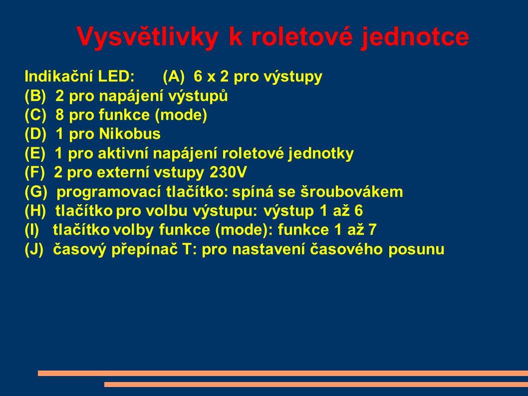 Vysvětlivky k roletové jednotce Indikační LED:(A) 6 x 2 pro výstupy (B) 2 pro napájení výstupů (C) 8 pro funkce (mode) (D) 1 pro Nikobus (E) 1 pro aktivní napájení roletové jednotky (F) 2 pro externí vstupy 230V (G) programovací tlačítko: spíná se šroubovákem (H) tlačítko pro volbu výstupu: výstup 1 až 6 (I) tlačítko volby funkce (mode): funkce 1 až 7 (J) časový přepínač T: pro nastavení časového posunu