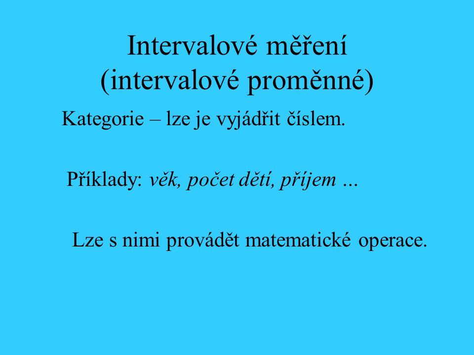 Intervalové měření (intervalové proměnné) Kategorie – lze je vyjádřit číslem.