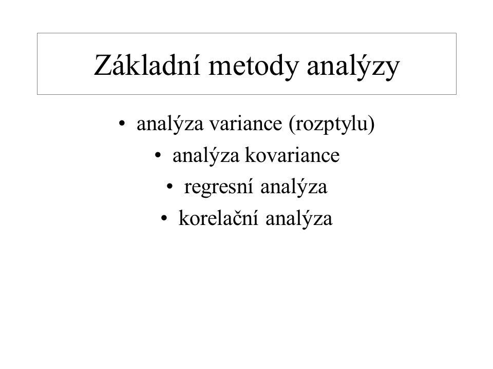 Základní metody analýzy analýza variance (rozptylu) analýza kovariance regresní analýza korelační analýza